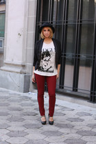 black H&M hat - black Charlotte Russe blazer - off white Love Culture shirt