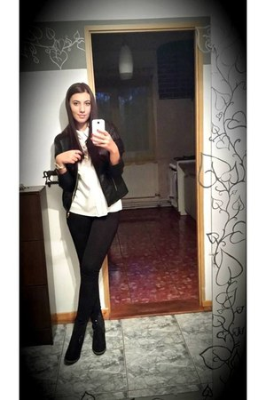 c&a necklace - white Deichmann dress - black Only jacket - Guess watch