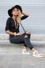 Black-wide-brim-calico-hat-black-faux-fur-amiclubwear-bag