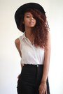 Black-wide-brim-calico-hat-white-chiffon-garage-top-white-bandeau-garage-bra