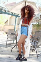 red bustier Forever 21 top - aquamarine high-waisted thrifted vintage shorts