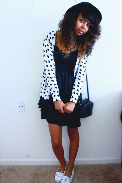 white Forever 21 cardigan - black Go International dress