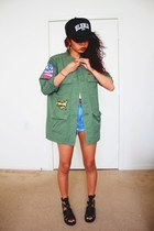 olive green grunge Kill City jacket - black streetstyle Hellz Bellz hat