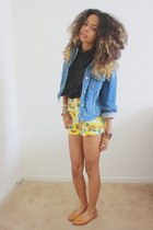 sky blue Levis jacket - yellow American Apparel shorts
