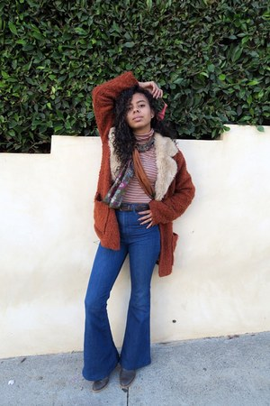 burnt orange MinkPink coat - blue bellbottoms PyloUSA jeans