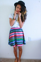 hot pink xhilaration skirt - black windsor hat - white shirt