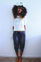 navy Forever 21 pants - white crochet Fire LA top - burnt orange sandals