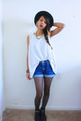 Black-bowler-hat-windsor-hat-blue-high-waist-shorts-white-top