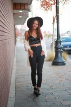black buckle Calico boots - black wide brim Calico hat - black satin Ebay top