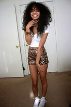 white crop top Arden B top - gold sparkle sequins Forever 21 shorts