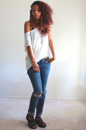 blue denim PacSun jeans - white slouchy Image t-shirt