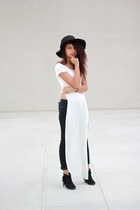 white maxi Image top - black ankle boots Qupid boots