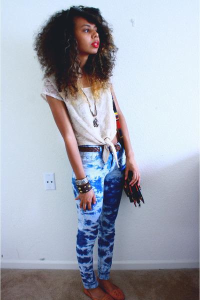 dark brown studded Burlingtons bracelet - blue Jake Jeans pants