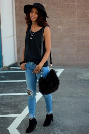 black ankle boots Heavenly Couture boots - sky blue distressed PacSun jeans