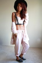 black black Topshop shoes - black winter Calico hat - light pink bustier H&M bra