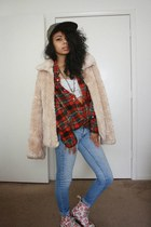 tan faux fur vintage coat - red floral print doc martens boots