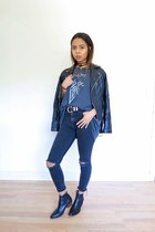 heather gray band tee t-shirt - black leather Topshop boots - black Zara jeans