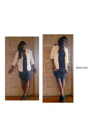 black lace trim vintage dress - vintage shirt - black leather Guess heels