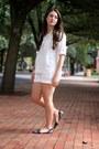White-h-m-shorts-white-and-black-report-flats-white-velvet-heart-blouse