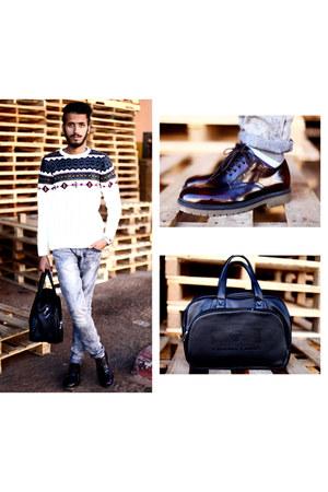 vintage pull&bear boots - jeans Zara jeans - CELIO sweater - Philip Plein bag