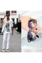 Bershka blouse - Aldo sunglasses - Zara pants - pull&bear sneakers