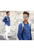 blue denim Place du jour shirt - white Zara bag - blue ray-ban sunglasses