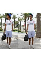 white cotton Alcott t-shirt - crimson Zara bag - blue Piazza Italia shorts