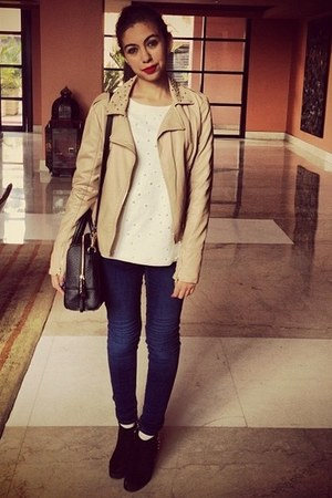 Zara boots - H&M jeans - Urban Outfitters jacket - Zara sweater - kate spade bag