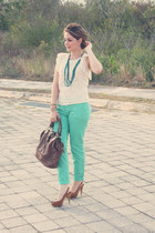aquamarine Sfera jeans - dark brown Sfera bag - ivory Sfera blouse