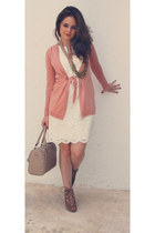 white Sfera dress - tan Sfera bag - pink Sfera cardigan - brown Sfera sandals