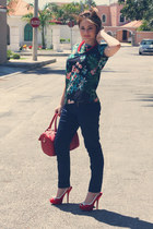 red Sfera shoes - navy Sfera jeans - red Sfera bag - dark green Sfera blouse