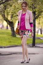 light pink red striped Stradivarius blazer - hot pink neon color New Yorker top