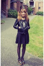 black Wego shoes - black Jouetie dress - black lowrysfarm jacket