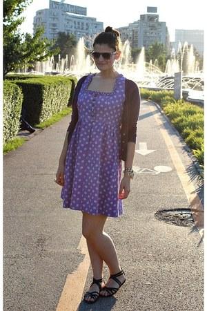 amethyst vintage dress - magenta kenvelo cardigan