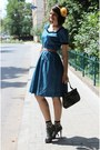 Navy-vintage-dress-camel-miss-selfridge-socks-carrot-orange-vintage-belt