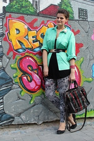 vintage shirt - Miss Selfridge leggings - Forever 21 sunglasses