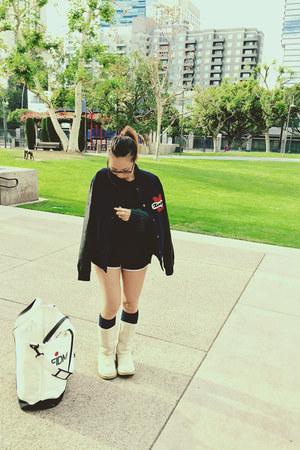 white fuzzy boots Forever21 boots - black baseball jacket Forever21 jacket
