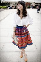 tribal midi handmade skirt - white oversized Forever 21 shirt