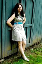 beige calvin klein dress - blue thrifted belt - beige Aldo shoes