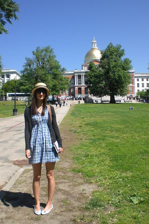 yellow random hat - white Primark shoes - gray Zara cardigan - blue H&M dress -