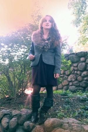 navy tweed jacket vintage blazer - dark brown boutique in Munich boots
