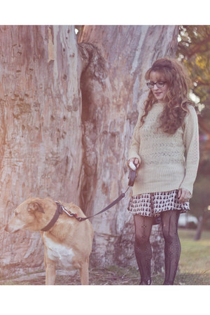 beige cat print H&M dress - eggshell lara sweater - black lace Target tights
