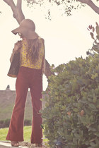 corduroy flares Anthropologie pants - floppy hat H&M hat