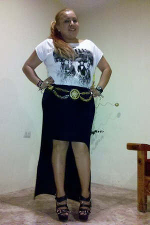DIY skirt - pull&bear t-shirt - vintage belt