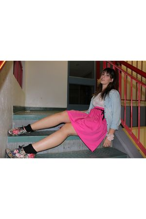 pink American Apparel skirt - black joe fresh style socks - white sws shirt - bl