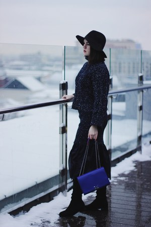 navy VIPme sweater - blue emporio armani bag