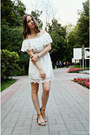 White-znu-dress-light-brown-h-m-sandals-beige-centro-necklace