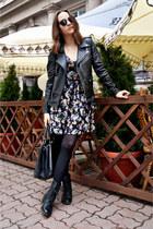 black PeleCheCoco jacket - black Bershka boots - Zara dress