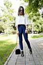 White-zara-top-navy-incity-pants-black-zara-heels