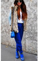 blue Zara shoes - blue Forever 21 pants - blue Chanel bag - brown new look vest
